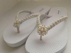 Bridal Ivory Flip Flops / Wedding Pearls Flip by RossyAccesorios, $35.00