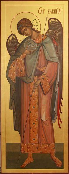 Angylion: The Holy Archangel Gabriel. Byzantine Art, Byzantine Icons, Religious Icons, Religious Art, Saint Gabriel, Michael Gabriel, Angel Drawing, Russian Icons, Christian Religions