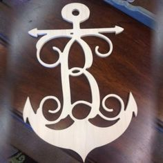 "18"" Wood Anchor with Single Letter - Love this for the boat house"