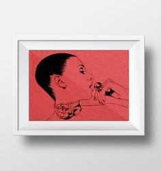"""Black pen - """"red III"""" - illustration Burkhard Neie"""