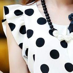 New Summer Women Ladies Chiffon Puffed Short Sleeve Dot Print Top Blouse