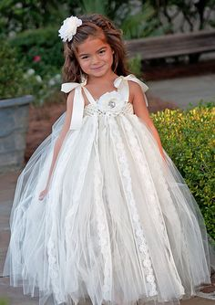 Fairytale Lace Flower Girl Tutu Dress by Tutu by TutuBellaBoutique, $128.00