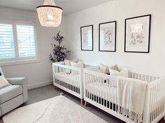 Twin Baby Beds, Baby Cribs For Twins, Twin Baby Rooms, White Baby Cribs, Twin Cribs, Twin Baby Girls, Twin Babies, Small Twin Nursery, Twin Nursery Gender Neutral