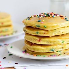 Cake Batter Funfetti Pancakes - These fun pancakes start with a box of cake mix for sweet, fluffy pancakes anyone will love.
