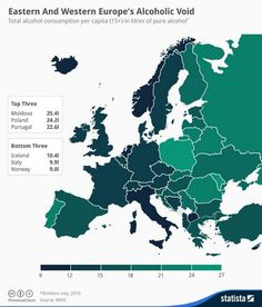 Eastern and Western Europe's alcoholic void