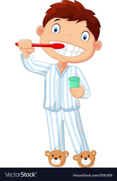 Cartoon little boy brushing his teeth Royalty Free Vector Preschool Worksheets, Preschool Classroom, Preschool Activities, Teaching Kids, Kids Learning, Tooth Cartoon, Flashcards For Kids, Flower Phone Wallpaper, Learning Cards