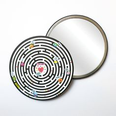 Round Pocket Makeup Mirror - The Labyrinth Free Black, Black Mirror, French Artists, Small Gifts, Pouch, Velvet, Pocket, Makeup, Prints