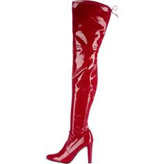Pre-owned Stuart Weitzman Patent Leather Thigh-High Boots (€470) ❤ liked on Polyvore featuring shoes, boots, red, red boots, pointed-toe boots, pointy-toe boots, patent leather boots and block heel boots