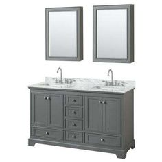 60 in. W x 22 in. D Vanity in Dark Gray with Marble Vanity Top in Carrara White with White Basins and Medicine Cabinets $1999