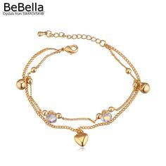 BeBella moda de bell charm bracelet para gilrs made with Swarovski Elements