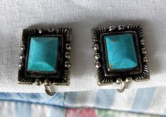 EARRINGS  Vintage  Square  TURQUOISE  SCREW Back  by MOONCHILD111, $16.99