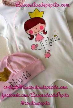Las cositas de Pepita: Conjuntos para bebes hechos con mucho amor T Shirt Painting, Fabric Painting, Couture Embroidery, Sweet Pic, Diy Shirt, Patch, Cute Designs, Cute Art, Baby Dress