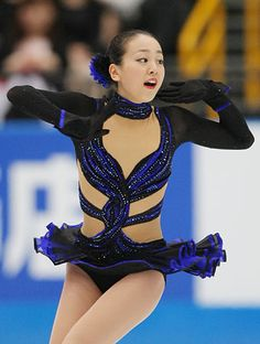 mao asada - Google Search  -Black Figure Skating / Ice Skating dress inspiration for Sk8 Gr8 Designs.
