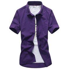 Candy Color Men Shirt 2017 Spring Summer Turn Down Collar Short Sleeves Casual Shirts Camisa Masculina