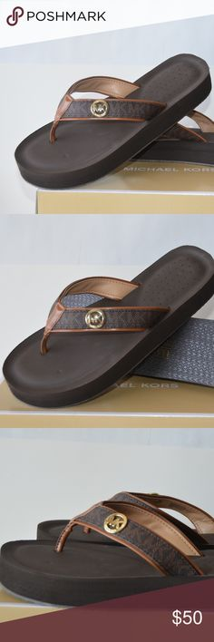 70a8ca6488964 Shop Women s Michael Kors Brown Tan size Various Sandals at a discounted  price at Poshmark. Description  BRAND NEW IN BOX Michael Kors Gage Flip  Flops SIZE ...