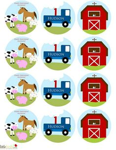 little blue truck birthday party | FARM Birthday Cupcake Toppers Party Circles with Little Blue Truck and ...