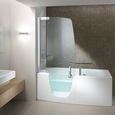 I love the look of this! And it looks deep enough for soaking!   Teuco 385 FY O C Disabled Walk In Modern Bath and Shower Combo  - Modern walk in tubs with showers