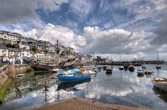 Clouds gather at Brixham Harbour - Greetings Cards