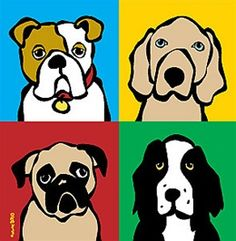 Marc Tetro Four Dogs Canvas Giclee Print - 6x6 from Barket & Meowsky - pet art!