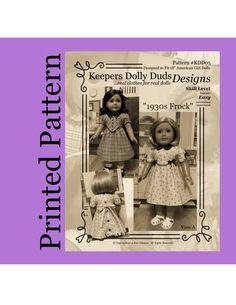 PRINTED  PATTERN 1930s Frock An Original by KeepersDollyDuds, $9.95