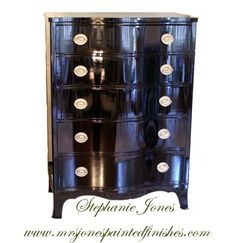 """StephanieJones  high gloss finish - Good instruction - """"If you are going after a high gloss finish, be sure to sand your piece of furniture with the finest sandpaper to begin. Next, use a flat paint in the exact same color you are planning on using in a gloss."""""""