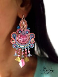Soutache Pastel Beaded Earrings With Swarovski Crystals. These soutache earrings were created with: - soutache in silver, pastel pink, yellow and blue colour, - Swarovski crystal rivoli fuchsia, - Swarovski crystal pearls light blue, - crystals markize light pink, - rhinestone