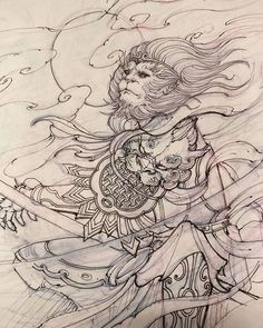 Monkey king sketch. #sketch #drawing #monkeyking #irezumi #chronicink #asiantattoo #asianink #tattoo #illustration