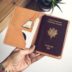 Passport Holder ALMOND Passport cover Passport case by Neptuunfr