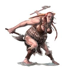 f Hill Giant Ranger Med Armro Dual Weapon Female - Pathfinder PFRPG DND D&D d20 Fantasy Grounds
