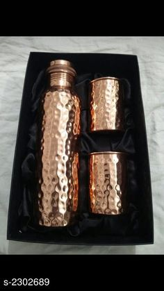 Bottles & Jugs  Water Bottle  & Glass (Pack Of 3) Material: Pure Copper Capacity:  Bottle - 950 ml , Glass - 250 ml. Free Mask  Description:  It Has 1 Piece Of Water Bottle & 2 Pieces Of Glass   Work  :  Hammered Sizes Available: Free Size *Proof of Safe Delivery! Click to know on Safety Standards of Delivery Partners- https://ltl.sh/y_nZrAV3  Catalog Rating: ★4 (489)  Catalog Name: Free Mask Elite Useful Pure Copper Bottle & Jugs, glasses Vol 2 CatalogID_307048 C130-SC1124 Code: 926-2302689-