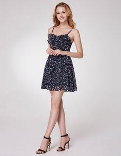3e3400c613a78 Alisa Pan Spaghetti Straps Floral Print Fit & Flare Dress | Ever-Pretty  #