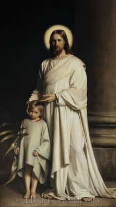 Beautiful collection of scriptures from the Bible teaching of Jesus Christ. Picture is Christ and The Young Child by Carl Bloch. Pictures Of Christ, Jesus Christ Images, Jesus Art, God Jesus, Lds Art, Bible Art, Catholic Art, Religious Art, Roman Catholic