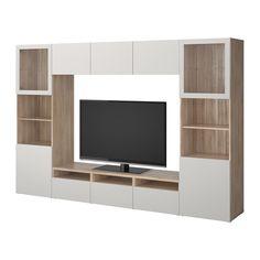 BESTÅ TV storage combination/glass doors - walnut effect light gray Lappviken/Sindvik light gray clear glass, drawer runner, push-open - IKEA