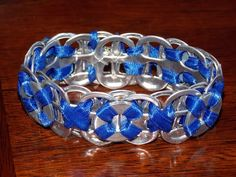 Upcycled Soda Tab Bracelet with Washers and Ribbon- Royal Blue by PopTopTastic
