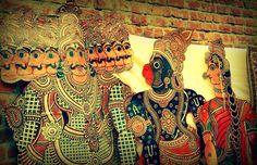 Hanuman and Sita puppets in Tholu Bommalata tradition of Andhra Pradesh, India