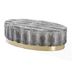 Image of Doutzen Rabbit Fur Oval Ottoman design by Interlude Home Oval Ottoman, Grey Ottoman, Square Ottoman, Chair And Ottoman, Grey Furniture, Large Furniture, Quality Furniture, Cool Furniture