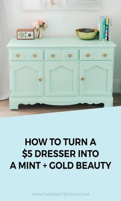 Check out this yard sale dresser that cost only $5!! We refinished it by painting the dresser mint, spraying the hardware gold, and styling it. Doesn't it make a perfect DIY dining room buffet? The turquoise and gold combination is gorge. Such an easy project! Click through for the tutorial and source list.