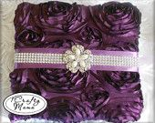 Gorgeous Satin, Eggplant Rosette Ribbon, & Bling Photo Album. Wedding Bridal Just Because Purple Lover's Gift