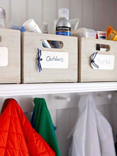 Bins, baskets, hooks, and containers all lend themselves to a simple but underused organization technique: labeling. Handwritten or computer-generated, labels can quickly help you and your family sort, store, and find what you need! http://www.bhg.com/decorating/storage/organization-basics/storage-strategies/?socsrc=bhgpin122914binorganization&page=6