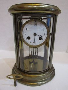 b87919e53fa ANTIQUE FRENCH CRYSTAL REGULATOR CLOCK 8 DAY TIME AND STRIKE KEY-WIND