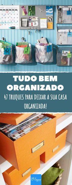 47 truques para deixar a sua casa bem organizada. Além disso, com estes conselhos não só você poupará tempo, como também dinheiro! #casa #decoracao #organizacao #diy #decor #truques #dicas #osagaz