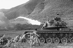 Vietnam War - A Marine Corps M67 Flamethrower tank (M48 tank equipped with a flamethrower) in action in I Corps