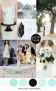 Mint and black wedding palette Black Wedding Themes, Blush Wedding Colors, Wedding Mint Green, Cute Wedding Ideas, Wedding Color Schemes, Wedding Inspiration, Mint Bridesmaid Dresses, Black Bridesmaids, Tiffany Wedding