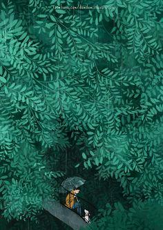 Illustration by Đốm Đốm - Ego - AlterEgo Anime Scenery, Children's Book Illustration, Aesthetic Art, Graphic, Cute Art, Art Inspo, Illustrators, Fantasy Art, Concept Art