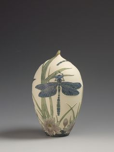 Southern Hawker Dragonfly & water-lily ceramic sgarffito vessel