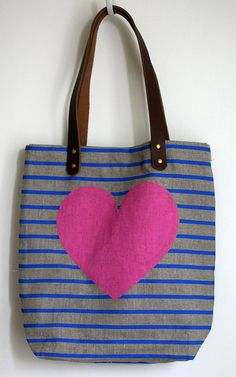 I think I need to buy this. Heart and Stripes Tote Bag in Pink Royal by jenhewett on Etsy, $80.00