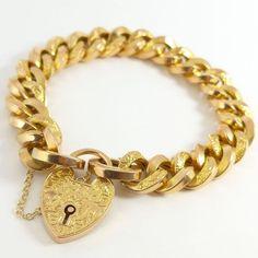9K WHITE GOLD GF PLAIN HEART CHARM PADLOCK CURB RING CHAIN SOLID BANGLE BRACELET