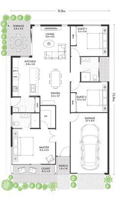 Modern home plan ideas Garage Floor Plans, Small House Floor Plans, Home Design Floor Plans, Duplex House Plans, Bungalow House Plans, Dream House Plans, Modern House Plans, Single Storey House Plans, 20x40 House Plans