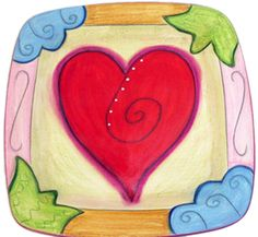 11 Inch Square Heart Plate by Double Creek Pottery   Sticks Furniture, Home Decorative Accents