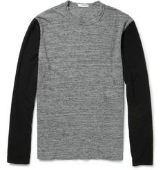 James Perse Two-Tone Long-Sleeved Cotton-Jersey T-Shirt | MR PORTER